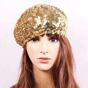 Accessories - Gold sequin holiday party Beret hat cap OS NYE